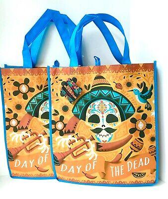 Dia De Los Muertos Shop (2 PC Day Of Dead SUGAR SKULL Dia De Los Muertos Reusable Shopping Bag)