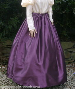 Ladies-SKIRT-Victorian-Edwardian-costume-gentry-fancy-dress-aubergine