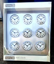 Bubble World Time Zone Wall Clock 9 International Cities Stainless Steel Body