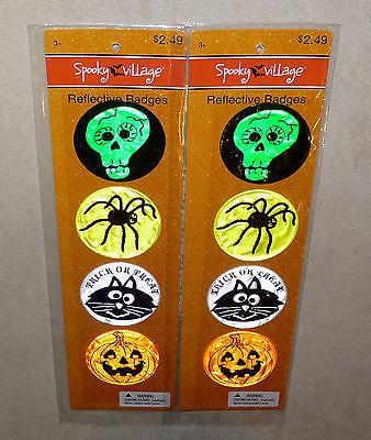 Reflective Saftey Badges For Halloween 4 Designs Colors - 2 sets of 4 - - Designs For Halloween