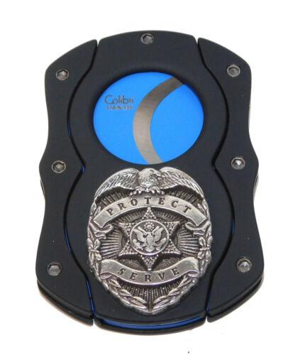 Police Badge BLUE BLADE Logo Cigar Cutter Black Matte Guillotine By Colibri ~NEW
