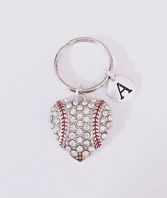 Initial Baseball Keychain Heart Softball Sports Mom Mother's Day Gift For Her - Softball Keychains