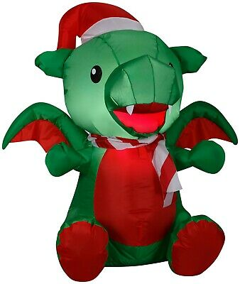 3' Gemmy Airblown Inflatable Christmas Baby Dragon Wearing Santa Hat Yard Decor