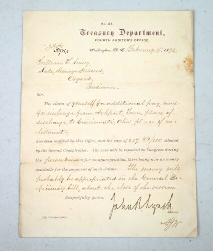 Rare1892 Letter Signed Former Slave John R. Lynch Early Black US Congressmen