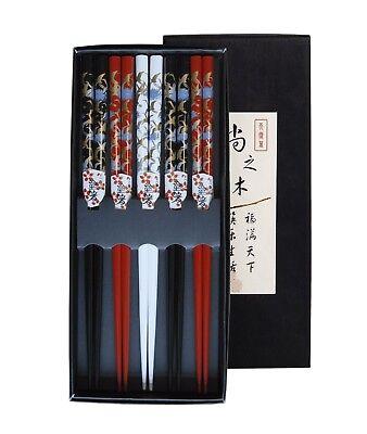5 Paar Essstäbchen KRANICH Chinesische Stäbchen Chopsticks Set Sushi 6006464 Stäbchen