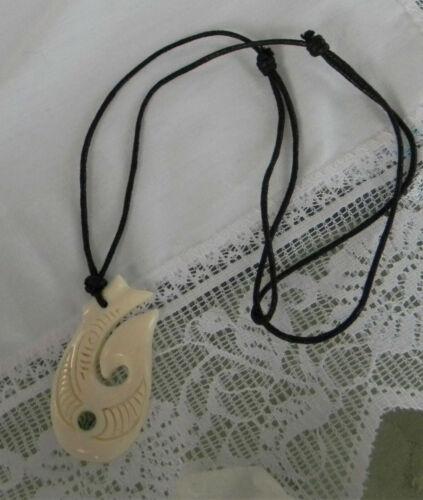 Hawaiian Whale Necklace Carved From Buffalo Bone Abalone Eye.Adjustable Cord