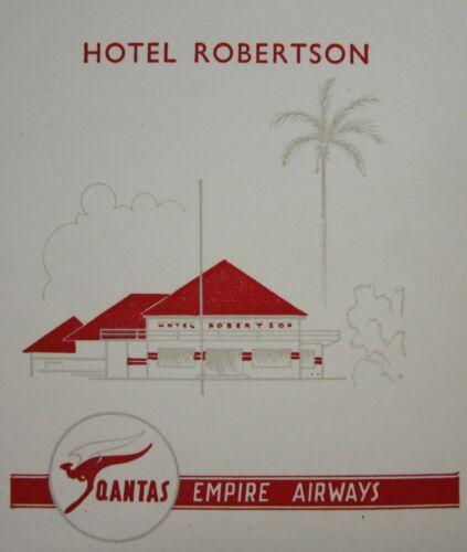 Vintage Restaurant Hotel Robertson Menu Qantas Empire Airways Djarkata 1957