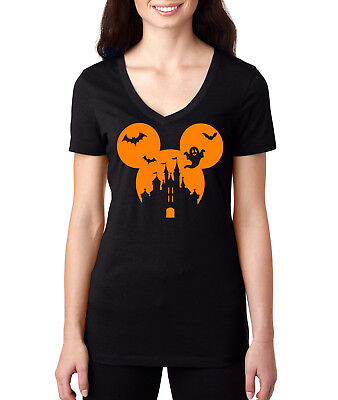 halloween Mickey Mouse disney castle With Bat ghost Vacation Tee Shirt for Women](Disney Castle Halloween)