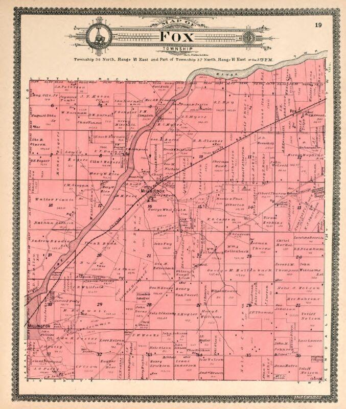 1870 KENDALL COUNTY ILLINOIS Atlas plat map old GENEALOGY history P54