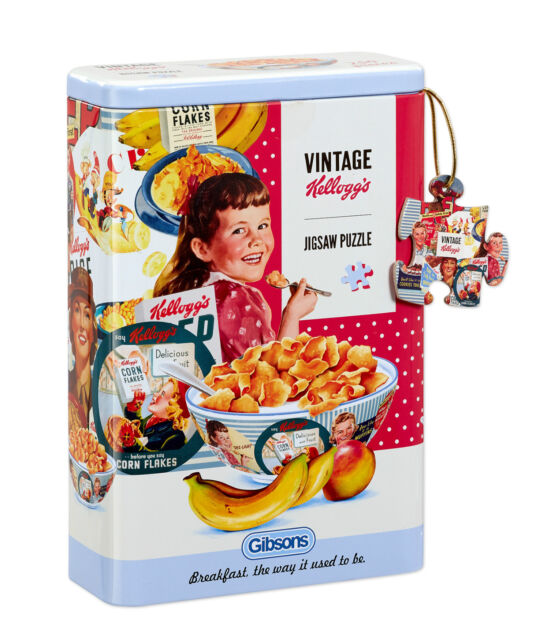 NEW! Gibsons Vintage Kelloggs 250 piece shaped jigsaw puzzle in a tin
