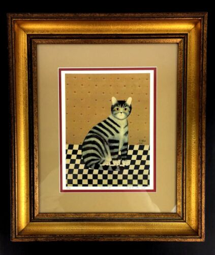 Sarah's Cat Carol Offet Print Picture 1985 Limited Ed Folk Art Wall Decor Gift