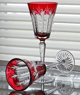"FABERGE GRAND PALAIS WINE GLASSES GOBLETS 9-5/8""H, GENUINE CASED CRYSTAL"