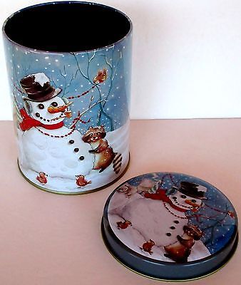 Vintage Winter Christmas Candy Tin 80s Snowman Animals Decor Round Blue 5 x 4