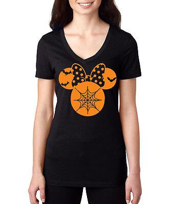 Halloween spooky Spider web Bow cartoon Big ears Womens disney inspired t shirt (Cartoon Halloween Spider)