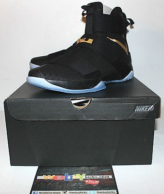 13672720d9039 Nike Air Lebron X 10 Soldier Championship Black Gold Sneakers Men s Size 12  New