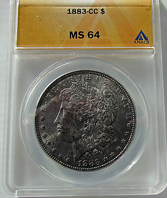 Click now to see the BUY IT NOW Price! US   MORGAN DOLLAR 1883 CC  ANACS MS 64 TONED SILVER CARSON CITY