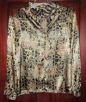Nicola M Blouse Top Shirt Silky Satin Black Gold Print Pullover Shoulder Pads Black Satin Top Shirt