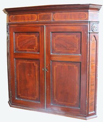 George 111 Mahogany and Inlaid Corner Wall Cabinet