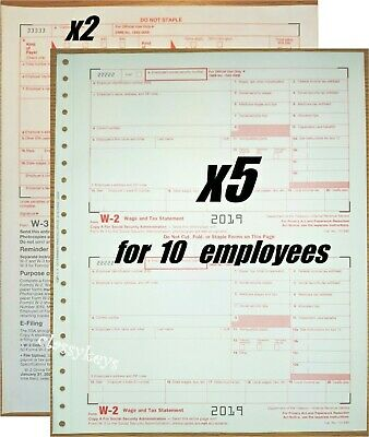 2019 Irs Tax Forms W-2 Wage Stmts 10 Employees Carbonless 6-pt 2w-3 No Env