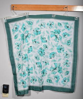 Vintage Scarf Styles -1920s to 1960s Vintage Set of 2 Accompli Cotton & Silk Floral Square Scarves Blue & Green $17.99 AT vintagedancer.com