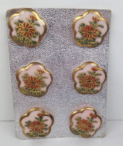 """Vintage Japanese Hand Painted Satsuma Buttons PINK Porcelain 7/8"""" Lot 6 on Card"""
