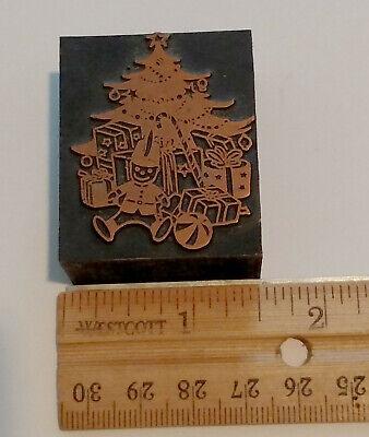 Printers Print Block Printing Letterpress Holiday Christmas Tree Toys Presents