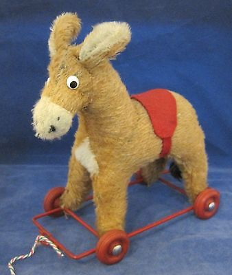 Donkey Pull Toy - Amazing Antique Mohair Donkey Pull Toy On Wheels  Glass Eyes Nice Shape SHP