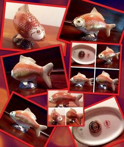 ✨✨Crown Derby porcelain hand enameled koi fish