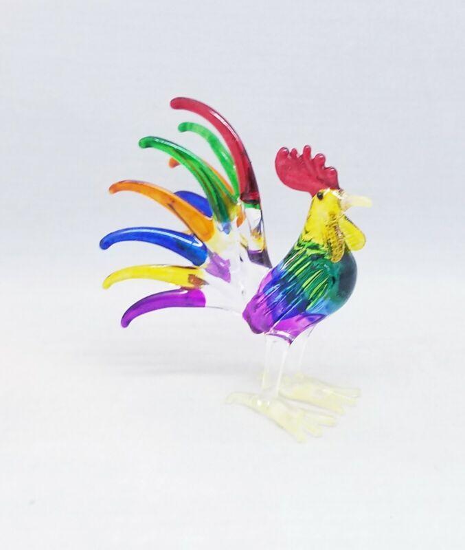 Rooster Chicken Hen Hand Blown Glass Figurine Miniature Farm Animal Art Decor