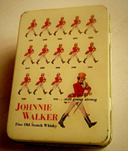 AMAZING VINTAGE GREEK JOHNNIE WALKER ADVERTISING PLAYING CARDS DECK IN TIN BOX