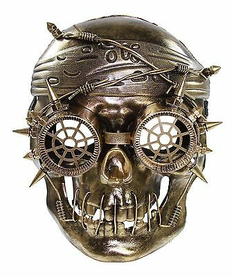 Gold Vengeful Steam Punk Pirate Plastic Mask Masquerade Costume Halloween (Pirate Mask Halloween)