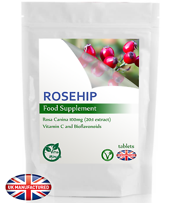 Rosehip 2000mg (120 Tablets) Natural Vitamin C Bioflavonoids Antioxidant, UK (V)