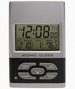 advance time geneva atomic digital travel alarm clock radio controlled battery ebay. Black Bedroom Furniture Sets. Home Design Ideas