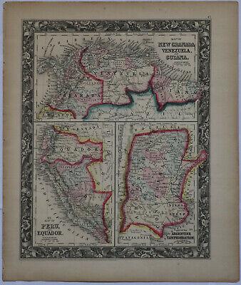 Original 1860 Venezuela Argentina Peru + more Mitchell map 15.5