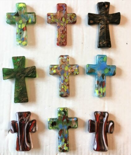Dealer Lot 9pc Art Glass Murano style Handmade Cross Charms