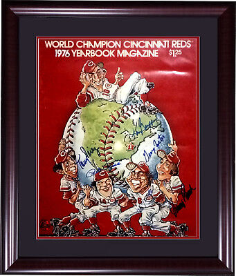 Big Red Machine Reds signed 1976 WS yearbook photo framed 6 auto Rose Bench COA Big Red Machine Framed Photo