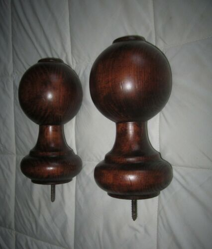 Set of 2=Antique French Wood Bed Post Finial Newel Repurposed