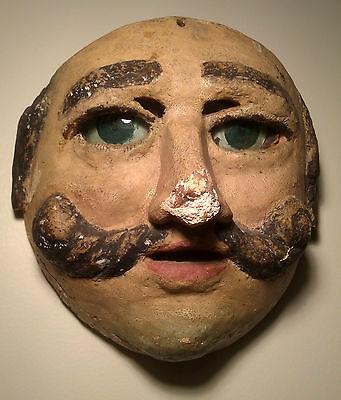 Antique ca1875-1910, Guatemalan, Heavy Cedar, Moor, Mask DANCED w/Original Eyes