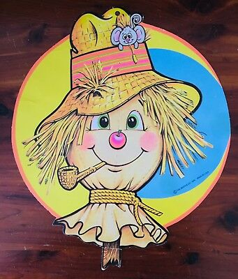 Vintage Halloween Thanksgiving Scarecrow Die Cut Decoration Beistle 1979 - Halloween Scarecrow Decoration