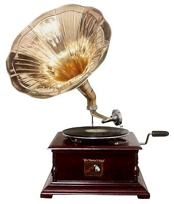 Replica Gramophone Player 78 rpm phonograph Brass Horn HMV Vintage Wind Up