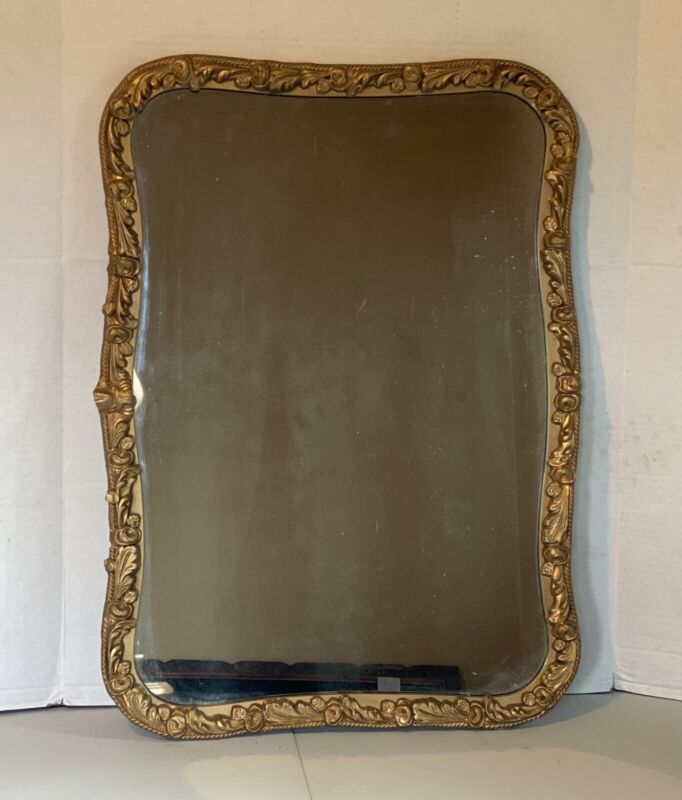 """Old Antique Mirror With Gold Ornate Frame 28""""x 20"""""""