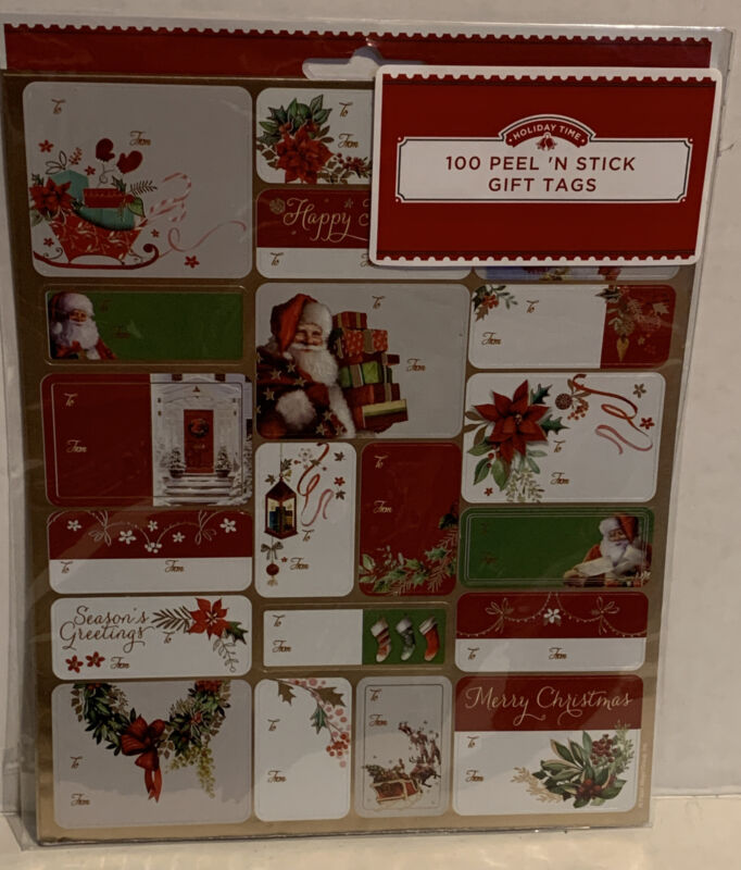 Holiday Time Christmas 100 Count Gift Tags Peel N Stick