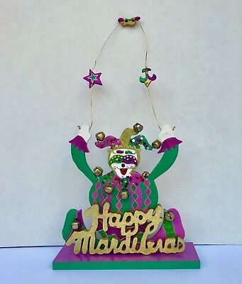 Mardi Gras Centerpiece Jester Design Purple Green Gold With Bells - Mardi Gra Centerpieces