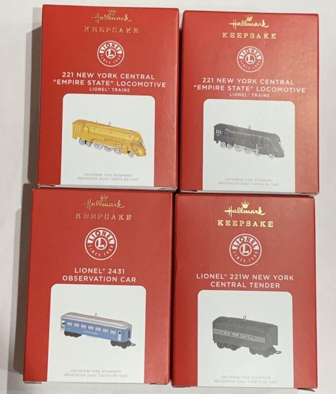New 2021 Hallmark Lionel 221 New York Central Locomotive Set Of 4 Ornaments LE