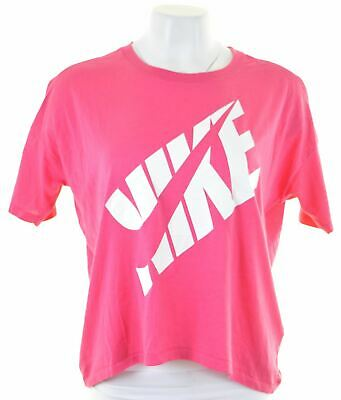 NIKE Womens Graphic T-Shirt Top Size 6 XS Pink Cotton Oversized BW08 08 Womens Pink T-shirt