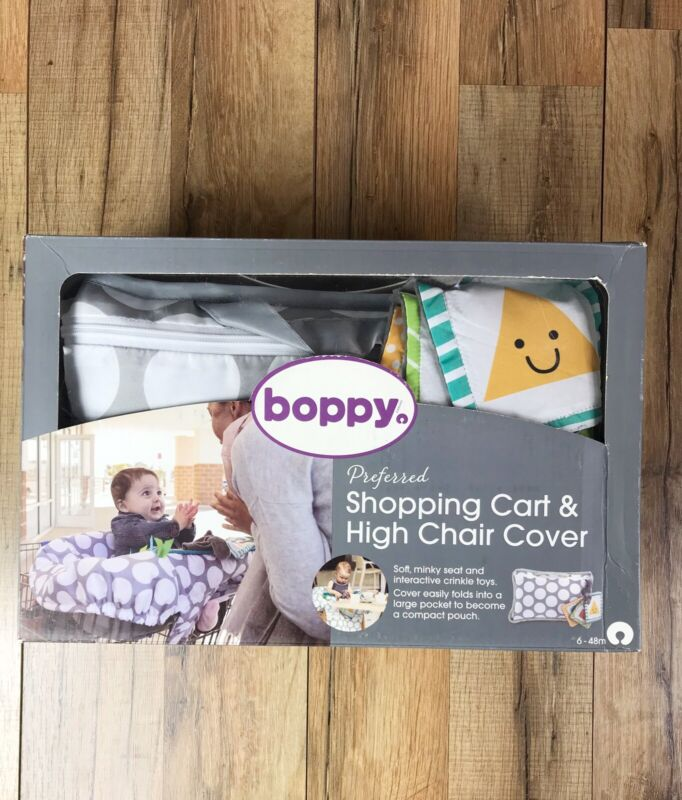 Boppy Preferred Shopping Cart and High Chair Cover Gray Jumbo Dots New