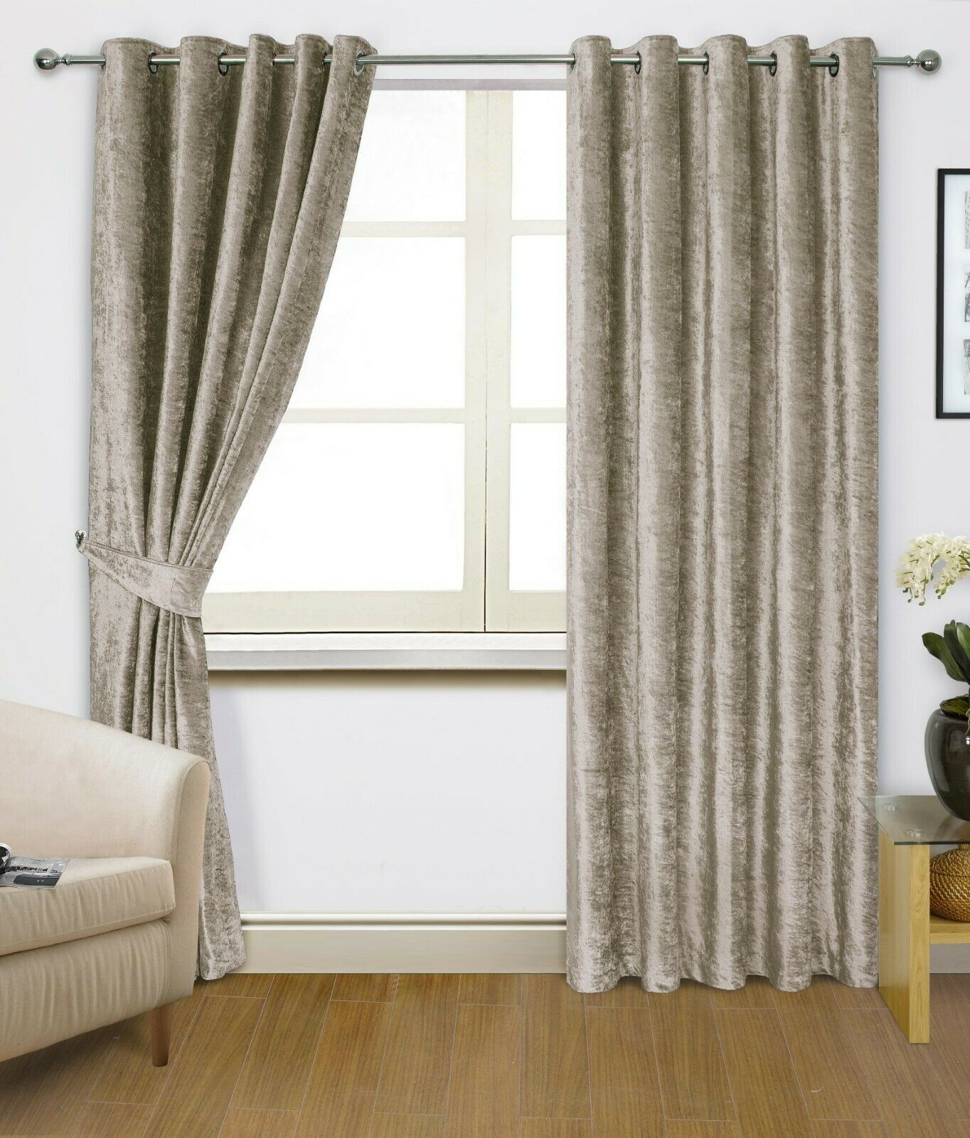 curtains - Crushed Velvet Lined Eyelet Mink Curtains (PAIR) - REDUCED TO CLEAR STOCK