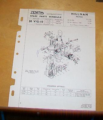 HILLMAN MINX Mk 3A EASIDRIVE  ZENITH 30 VIG-10 CARBURETTER SPARE PARTS SCHEDULE