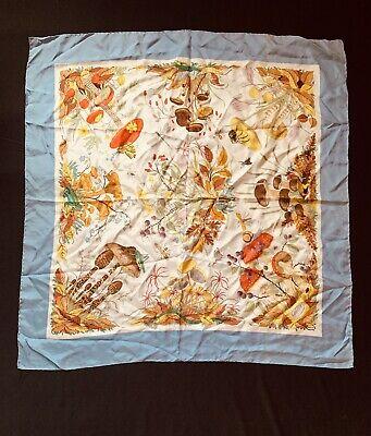 "Vintage Gucci Vittorio Accornero 100% Silk Scarf Mushrooms & Insects World 33"""