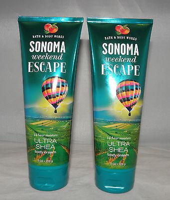 Bath & Body Works Sonoma Weekend Escape 24 Hour Moisture Shea Body Cream X 2